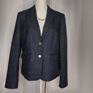 NWT ANN TAYLOR Navy Tweed Blazer Sz 12